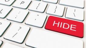 Close-up van wit computertoetsenbord en rode huidensleutel die wordt geschoten Het conceptuele 3d teruggeven Stock Fotografie