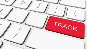 Close-up van wit computertoetsenbord en rode spoorsleutel die wordt geschoten Het conceptuele 3d teruggeven Stock Afbeeldingen