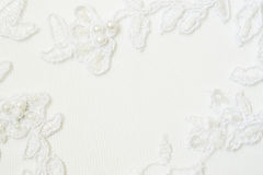 Close-up van wit huwelijkskant stock foto