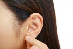 Close-up van woman& x27; s oor Stock Fotografie