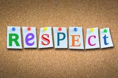 """Close-up van woord """"respect† op cork aanplakbord met kleverige nota's en gekleurde spelden Stock Foto"""