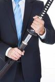 Close-up van Zakenman With Sword Stock Fotografie