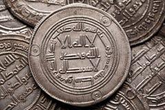 Close-up van zilveren Islamitische muntstukken wordt geschoten dat Royalty-vrije Stock Afbeelding