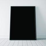 Close-up van zwarte affiche op de witte vloer 3d Stock Foto's