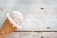 Close up vanilla ice cream cone Stock Photography