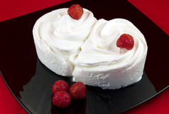 Close-up of vanilla ice cream with strawberries Royalty Free Stock Photography