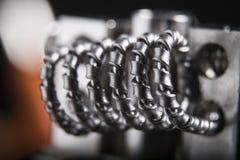 Close up vape coil for e cig stock photo