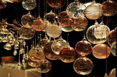 Close-up of variety Christmas decorations on sale at the market Royalty Free Stock Photography