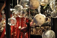 Close-up of variety Christmas decorations on sale at the market in Cologne. Germany Stock Photography
