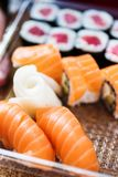 Close-up of variety of sushi in a delivery box royalty free stock images