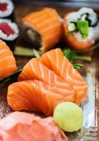 Close-up of variety of sushi in a delivery box stock image