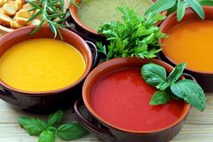Close up Variety of vegetables cream soup Royalty Free Stock Photography