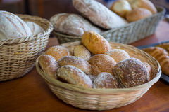 Close-up of various breads in basket Stock Photo