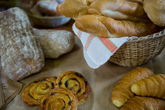 Close-up of various breads in display Royalty Free Stock Photography