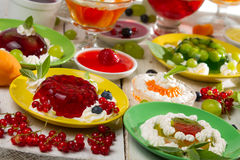 Close-up of various colored jelly with fruits Stock Photo