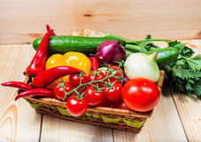 Close up of various colorful raw vegetables. In a basket Royalty Free Stock Images