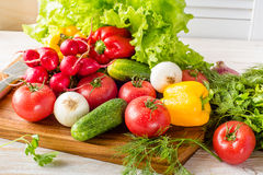 Close up of various colorful raw vegetables. stock image
