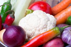 Close up of various colorful raw vegetables. Red onion, cauliflower, pepper, tomato and garlic Stock Photos