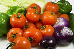 Close up of various colorful raw vegetables. Wet vegetables closeup on the full background horizontal Stock Photography
