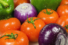 Close up of various colorful raw vegetables. Wet vegetables closeup on the full background horizontal Royalty Free Stock Photography