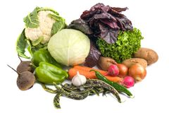 Close up of various colorful raw vegetables on white background Stock Photo