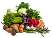 Close up of various colorful raw vegetables on white background Stock Photography