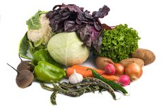Close up of various colorful raw vegetables on white background Royalty Free Stock Images