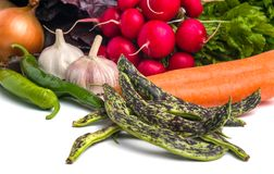 Close up of various colorful raw vegetables on white background Royalty Free Stock Photo
