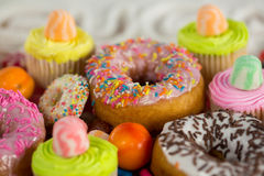 Close-up of various confectionery royalty free stock photography