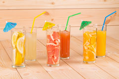 Close up of various juices Royalty Free Stock Image