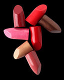 Close up of various lipsticks on black Stock Photography