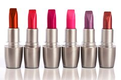 Close up of various lipsticks Stock Photos