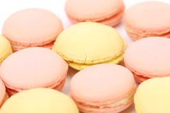 Close up of various macaron cakes. Macro. Stock Photos