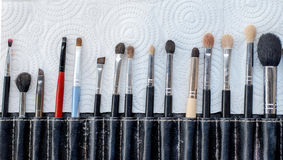 Close-up Various Makeup brushes in leather case Royalty Free Stock Photo