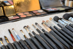 Close-up Various Makeup brushes in leather case Stock Photography