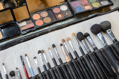 Close-up Various Makeup brushes in leather case Stock Photos