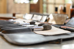 Close-up Various Makeup brushes in leather case Royalty Free Stock Photos