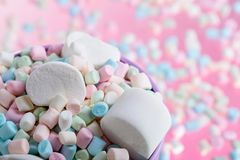 Violet pail with various marshmallows. Close up of various marshmallows on a pink background, selective focus royalty free stock photography