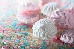 Close up of various marshmallows  . Stock Image