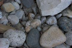 Close up of various sized washed gravel and a limestone block. The limestone has been eroded, and was quarried, and now has some angular sides Royalty Free Stock Image