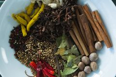 Various spices arranged in plate Stock Image