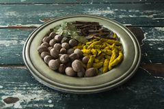 Various spices arranged in plate Royalty Free Stock Image