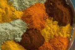 Various spices arranged in plate Stock Photography