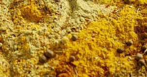 Various spices powder 4k. Close-up of various spices powder 4k stock video footage
