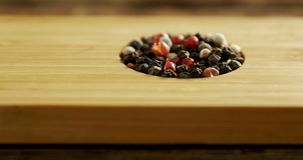Various spices in wooden tray 4k. Close-up of various spices in wooden tray 4k stock video