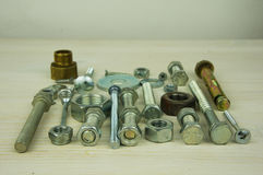 Close-up of various steel nuts and bolts Royalty Free Stock Images
