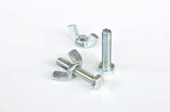 Close-up of various steel nuts and bolts Royalty Free Stock Image