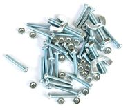 Close-up of various steel nuts and bolts Stock Photography