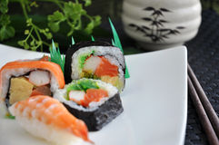 Close up various sushi on plate Royalty Free Stock Images
