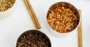 Various type of spices in bowl 4k. Close-up of various type of spices in bowl 4k stock video footage